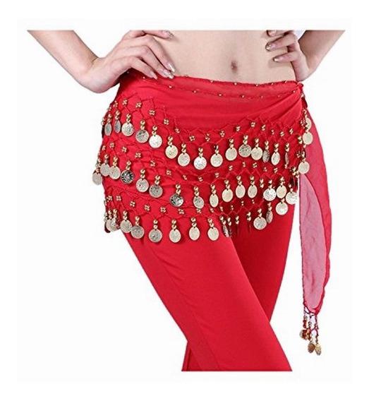 Tzou Vientre Rojo Falda De La Danza Bufanda De La Cadera