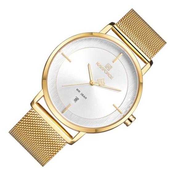 Relógio Feminino Naviforce 3009 Resiste Água Dourado