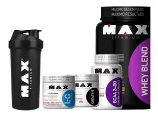 Combo Whey Blend + Bcaa + Creatina + Glutamina Max Titanium