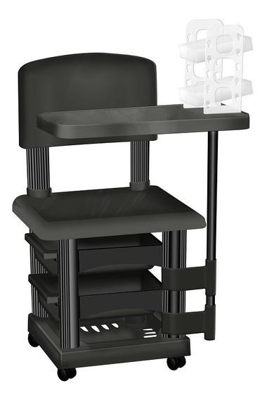 Cadeira Cirandinha Preta Para Manicure Com Porta Esmaltes