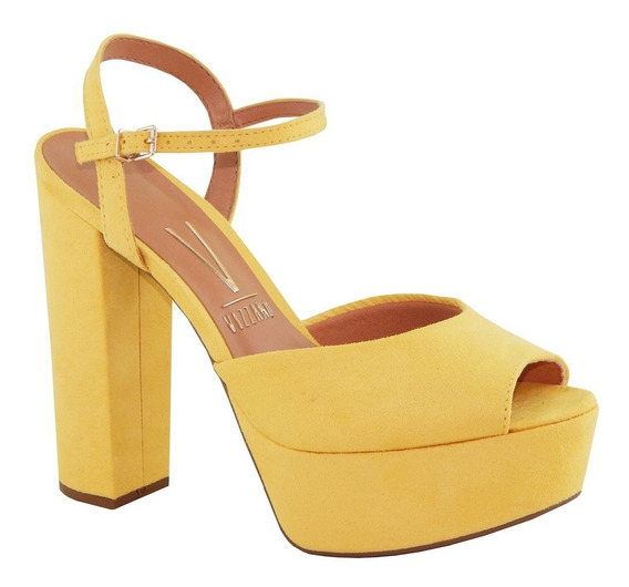 Sandália Vizzano Salto Amarelo Fivela 6282.100 Cor Nova