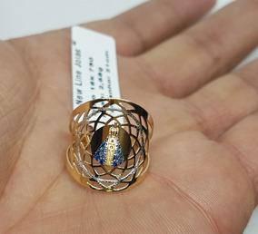 Anel Vazado Ave Maria Em Ouro 18k 750 Impecável 2,68g