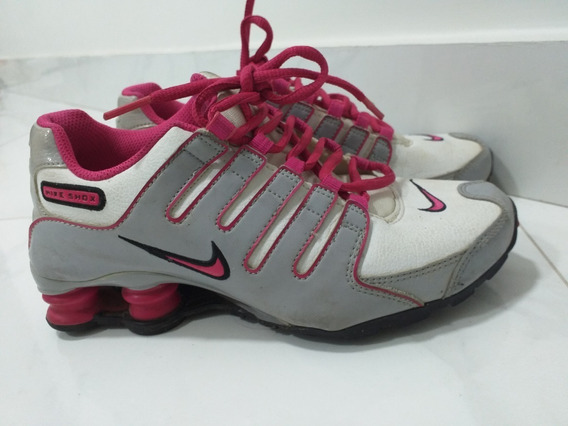 Tênis Nike Shox Nz - Cinza Com Detalhes Rosa E Branco