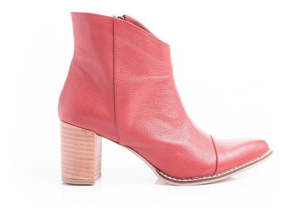 Botas Texanas Zapatos Mujer Botitas Botinetas Cuero Rojo