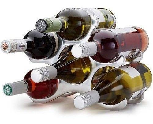 Adega Rack Suporte P/vinho 6 Garrafas Alumínio Taça Bar Ik01