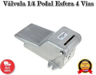 Válvula Pedal Esfera 4 Vias Rosca 1/4 - Romak