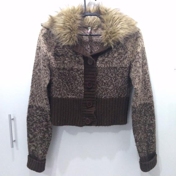 Blusa De Frio Marrom De Lã Trico Tam P