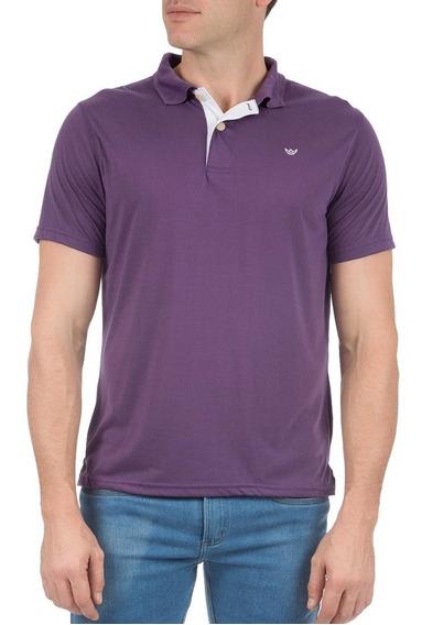 Camisa Polo Colombo Masculina Roxa Lisa Com Detalhe 43847
