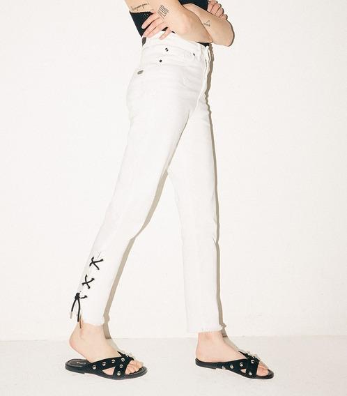 Pantalon Jean Mujer Cropped Chupin Semi Recto Uma Algodon