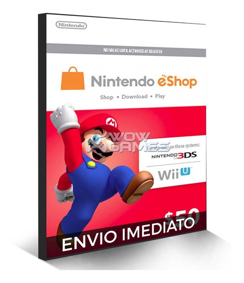 Cartão Nintendo Eshop Usa Switch 3ds Wii U Ecash $50 Dolares
