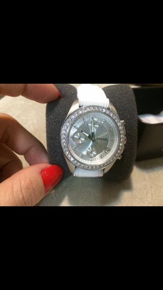 Relógio Original Fossil Feminino Caixa Metal Pulseira Branca