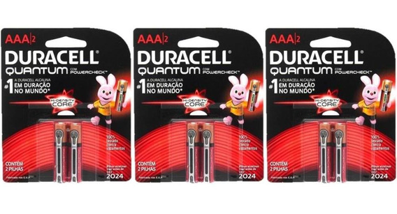 Kit Duracell Pilha Super Alcalina Aaa Quantum C/6 Unidades