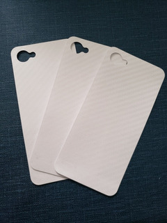Set De 3 Skin Protector Trasero Lg Q6 Tipo Fibra De Carbono