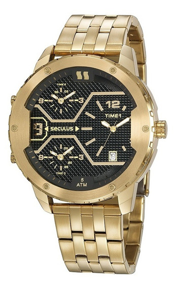 Relógio Banhado A Ouro Dual Time Seculus 20886gpsvda1