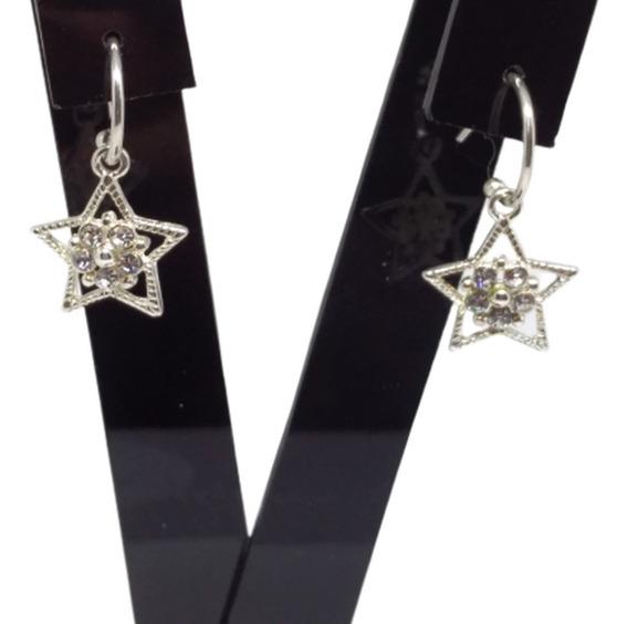 Brinco Feminino Folheado Ouro 18k Estrela Flor Cristal C453
