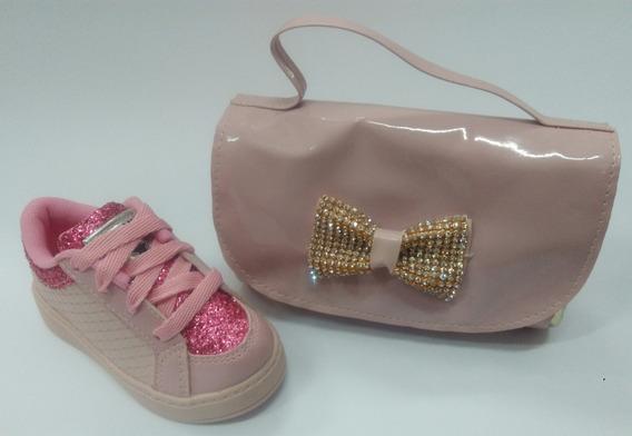 Tenis Brink Casual Rose/pink/gliter Com Brinde Bolsinha
