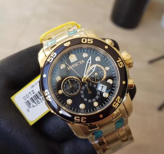 Relógio Invicta Pro Driver 0072 B. Ouro 18 K Mostrador Preto