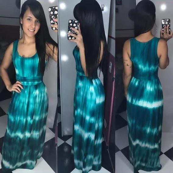 Vestido Feminino Longo Estampado Regata Tie Dye Evangelica