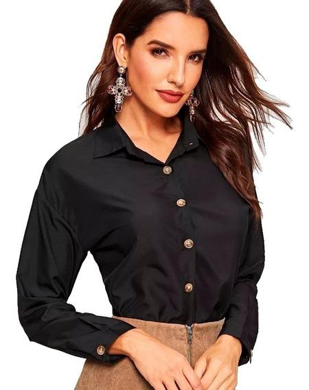 Camisa Manga Larga Negra Elegante Con Dobladillo Redondeado