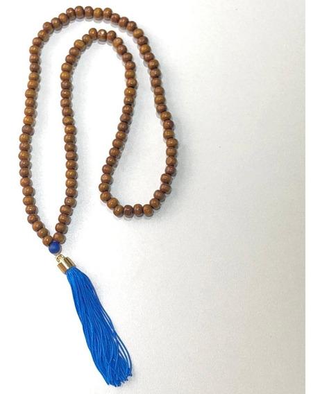 Japamala Em 108 Contas De Madeira Hooponopono Budista Azul