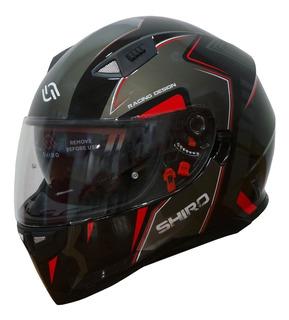 Casco Moto Shiro Sh-881 Montecarlo Negro