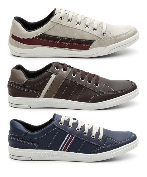 Sapatenis Sapato Casual Masculino Kit C/3 Kreeper Calçados