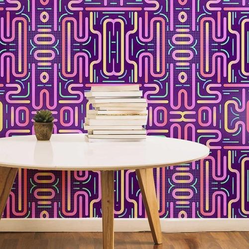 Imagem 1 de 4 de Papel De Parede Adesivo Neon Abstrato Retrô N05042 Rolo De 0