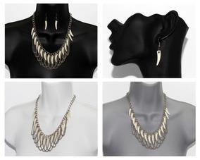 501bcb9747a1 Collar Aretes Moda Dama Plateado Bisuteria Gargantilla Cc513