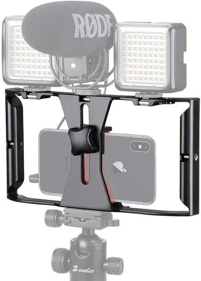 Grip Suporte De Mãos + 2 Luz Led + Microfone Para Celular