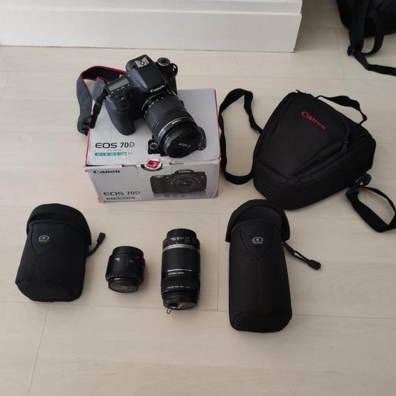 Canon Eos 70d + Lentes 18-135/50mm/55-250 - Perfeito Estado