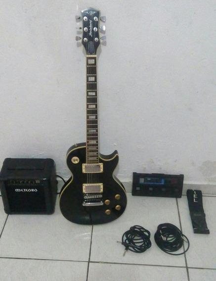Kit Guitarra Lespol Pedaleira Zoom Mais Caixa Meteora