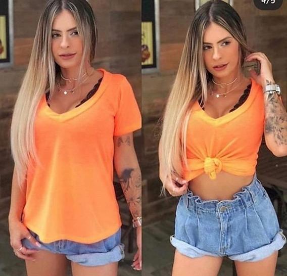 Blusa Tshirt Feminino Decotada Blusinha Podrinha - Blogueira
