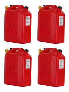 Juego De 4 Garrafas Bidón Económico Para Gasolina O Químicos De 20 Litros