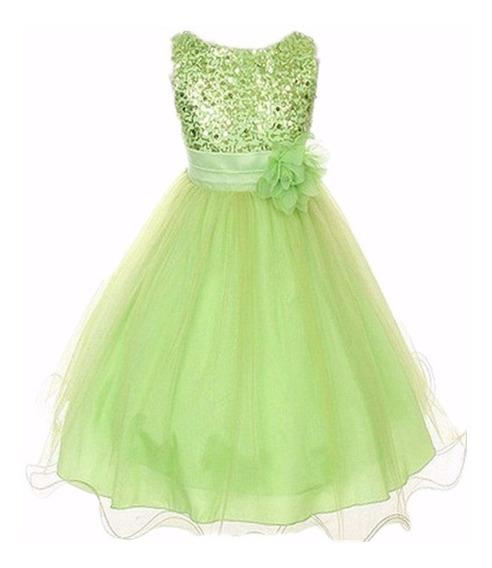 Vestido Infantil Aniversario Verde Ou Rosa Ate 2 Aninhos