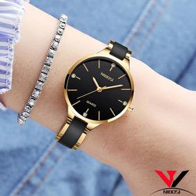 Relógio Feminino Nibosi Em Cerâmica A Prova D