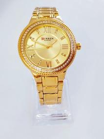 Relógios Feminino Curren Dourado Quartzo Na Cx. Promoção
