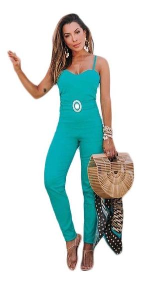 Macacão Macaquinho Feminino Longo Bojo Decote Moda Instagran Com Cinto E Bojo Veste Super Bem Tecido Bengaline