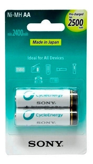 Pilha Sony Aa 2500mah Recarregavel C/ 2 Un Original