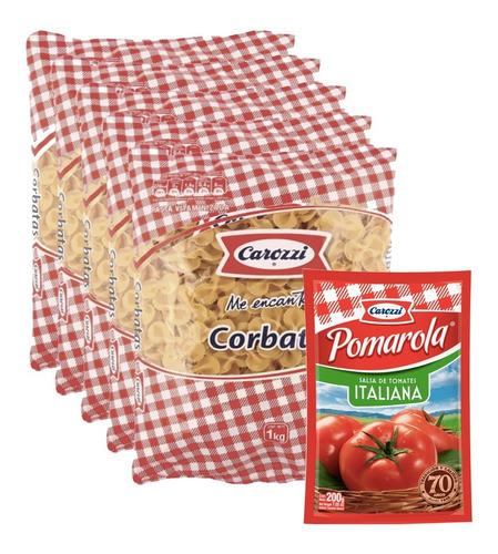 Pasta Carozzi Corbatas  (5 Unidades) + Salsa Pomarola