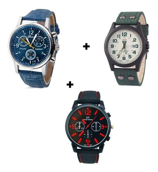 Kit 3 Relógios Masculinos De Ponteiros Luxo Preço De Atacado