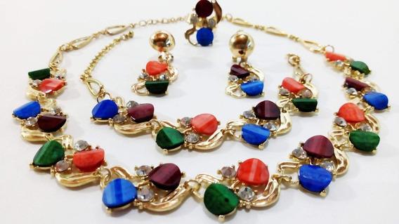 Conjunto Jóia Banhado Ouro Gargantilha+pulseira+brinco+anel
