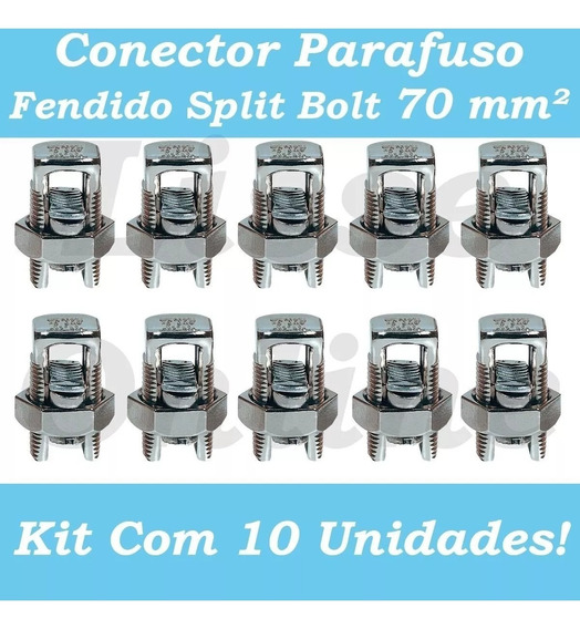 Kit 10 Conector Parafuso Fendido Cabos Fios 70mm Split Bolt