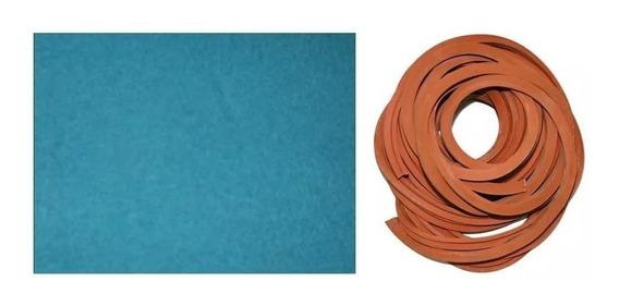 Kit Sola Giz Virola 3m Tecido Azul + 7m Borracha L Sinuca