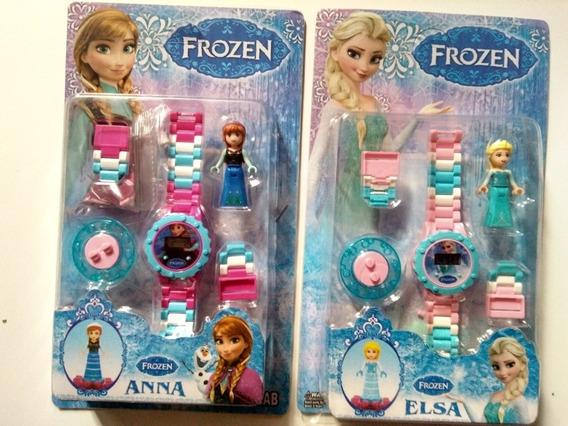 2x Relógio Digital Frozen Anna E Elsa + Lego + Brinde