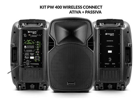 Kit Caixa De Som Pw 400 Wireless Ativa + Passiva 800w Rms