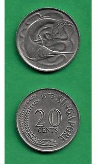 Grr-moneda De Singapur 20 Cents 1973 - Pez Espada