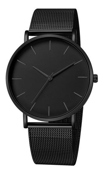 Relógio Ultra Fino Slim Aço Inox Ajustável Social Malha + Cx