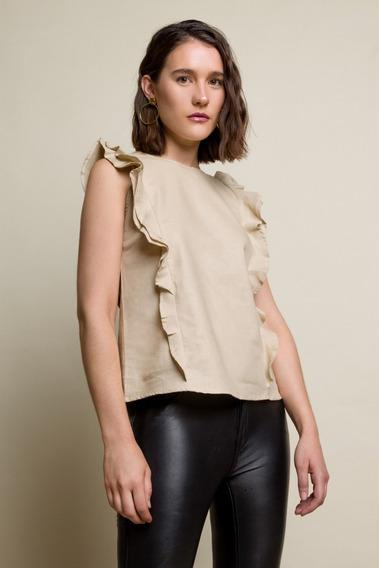 Camisa De Lino Beige Con Volados Nueva- Mujer