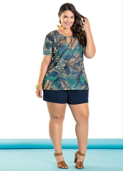 Conjunto Kit Blusa Feminina E Shorts Plus Size G , Gg E Xxg