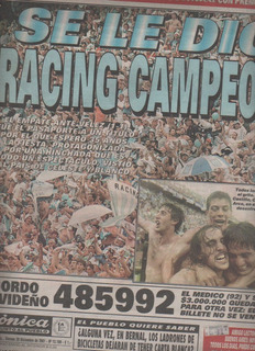 Diario Cronica ** Racing Campeon 2001 ** Unico...